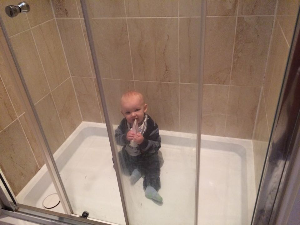 Baby loves hiding in showers