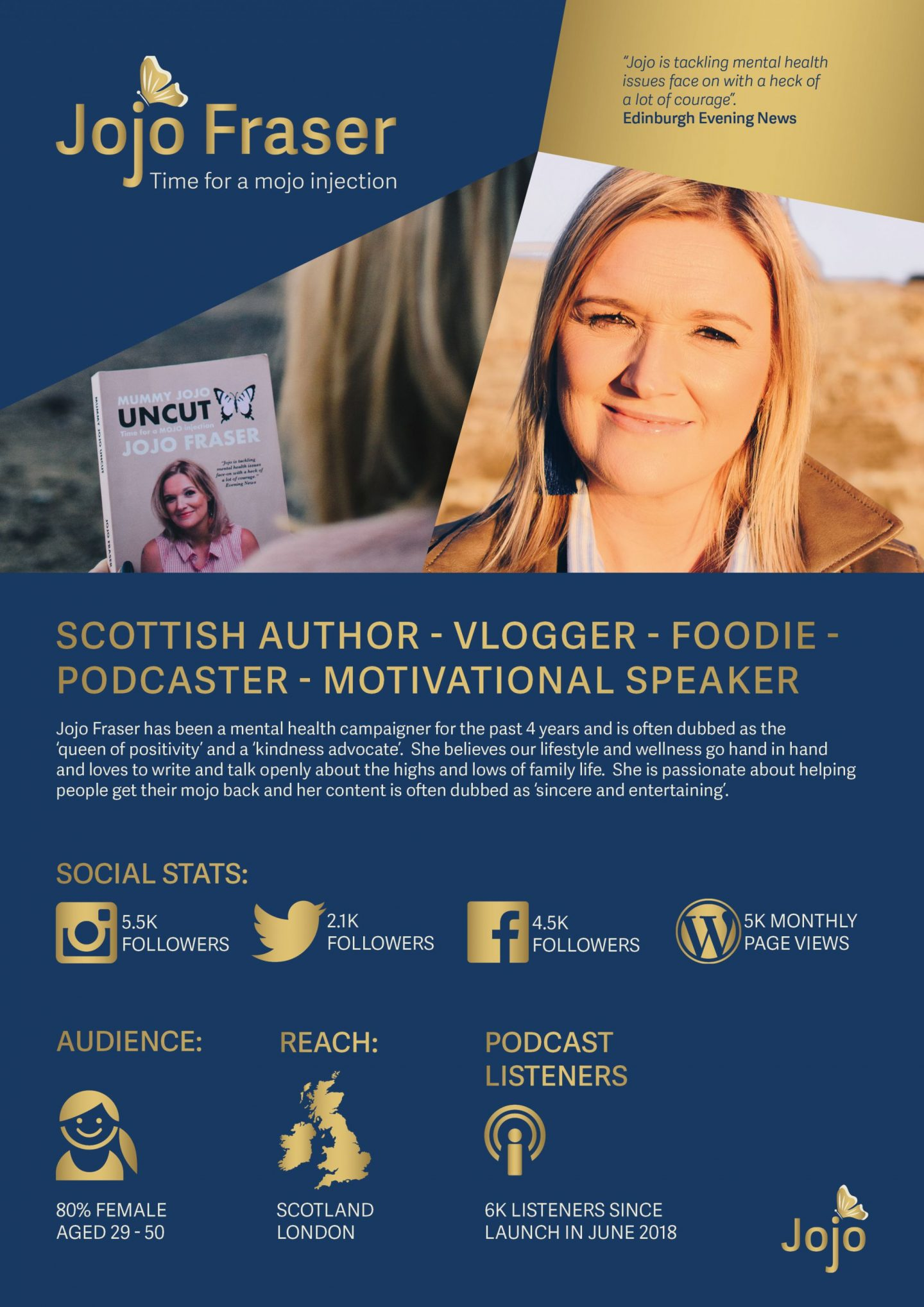 Jojo Fraser - Scottish author, blogger and motivational speaker
